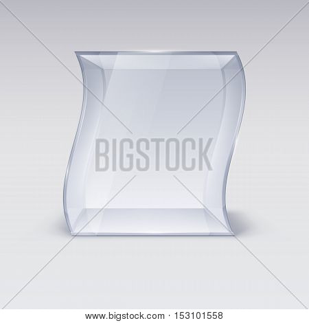 Empty Glass Showcase in Wave Form for Presentation on white Background