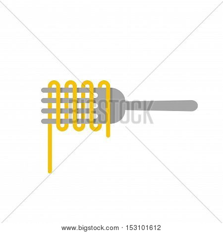 Pasta logo vector isolated on white background, spaghetti noodle on fork, Italian food logotype concept, flat style pasta icon