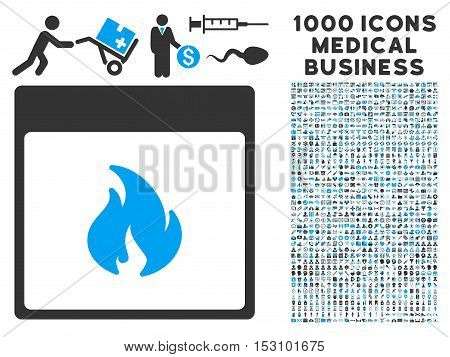 Blue And Gray Fire Calendar Page glyph icon with 1000 medical business pictograms. Set style is flat bicolor symbols, blue and gray colors, white background.