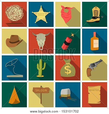 Wild west set icons in flat style. Big collection wild west vector symbol stock