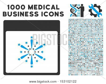 Blue And Gray Fireworks Boom Calendar Page glyph icon with 1000 medical business pictograms. Set style is flat bicolor symbols, blue and gray colors, white background.