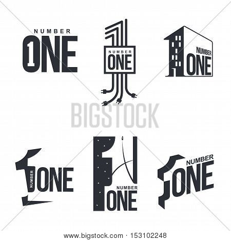 Set of black and white number one logo templates, vector illustrations isolated on white background. Black and white graphic number one logo templates, corporate identity