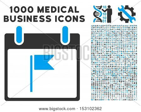 Blue And Gray Flag Calendar Day glyph icon with 1000 medical business pictograms. Set style is flat bicolor symbols, blue and gray colors, white background.