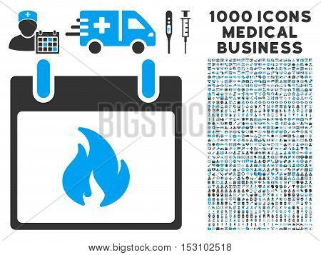 Blue And Gray Flame Calendar Day glyph icon with 1000 medical business pictograms. Set style is flat bicolor symbols, blue and gray colors, white background.