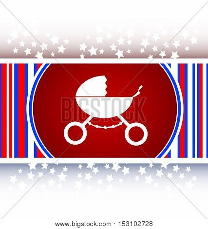 white stroller on red icon in mode