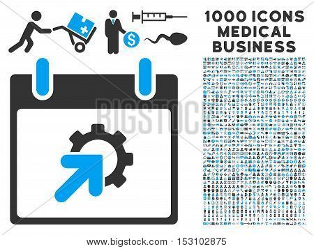 Blue And Gray Gear Integration Calendar Day glyph icon with 1000 medical business pictograms. Set style is flat bicolor symbols, blue and gray colors, white background.