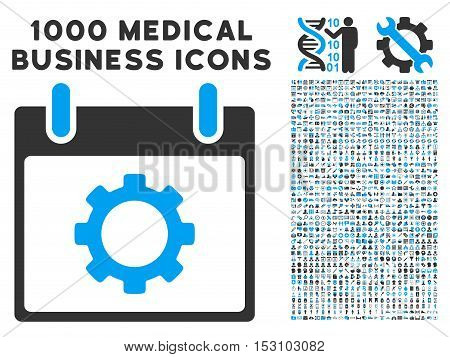 Blue And Gray Gear Options Calendar Day glyph icon with 1000 medical business pictograms. Set style is flat bicolor symbols, blue and gray colors, white background.