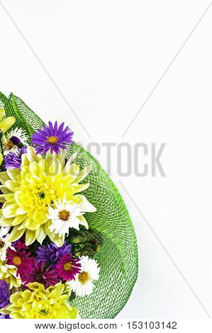 bouquet with chrysanthemums and asters on a white background close-up.