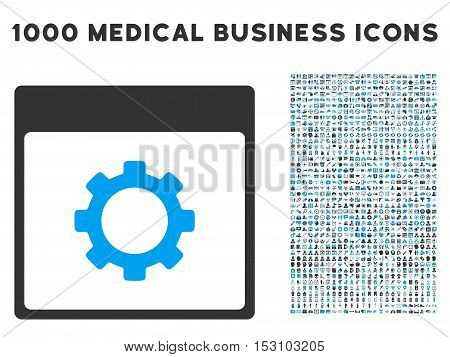 Blue And Gray Gear Options Calendar Page glyph icon with 1000 medical business pictograms. Set style is flat bicolor symbols, blue and gray colors, white background.
