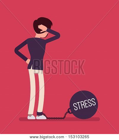 Businessman chained with a giant metall weight, written Stress on a ball, thinking the problem over, scratching his head. Rear view. Cartoon vector flat-style concept illustration