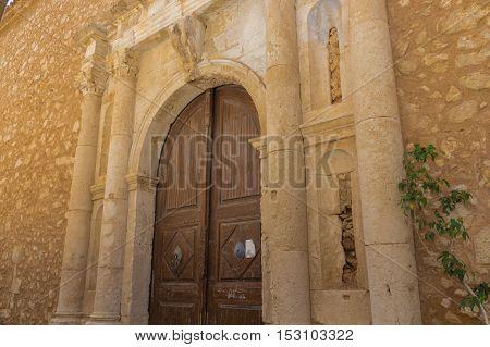 Medieval archway portal in Rethymno Crete Greece