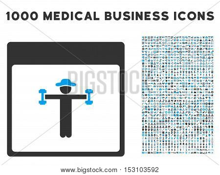 Blue And Gray Gentleman Fitness Calendar Page glyph icon with 1000 medical business pictograms. Set style is flat bicolor symbols, blue and gray colors, white background.