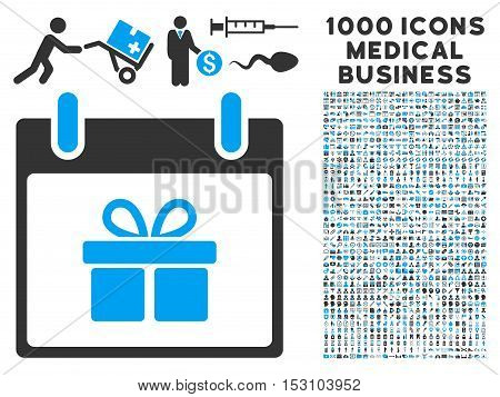 Blue And Gray Gift Box Calendar Day glyph icon with 1000 medical business pictograms. Set style is flat bicolor symbols, blue and gray colors, white background.