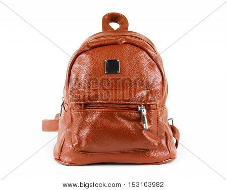 Brown leather backpack isolated on white texture, shoulder