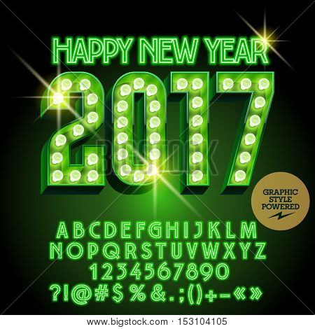 Vector light up Merry Christmas 2017 greeting card with set of letters, symbols and numbers. File contains graphic styles
