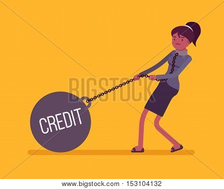 Businesswoman dragging a giant heavy weight on chain, written Credit on a ball. Cartoon vector flat-style concept illustration