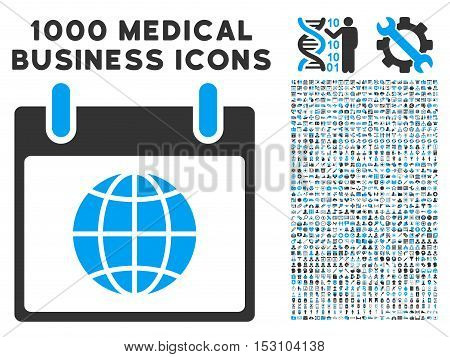 Blue And Gray Globe Calendar Day glyph icon with 1000 medical business pictograms. Set style is flat bicolor symbols, blue and gray colors, white background.