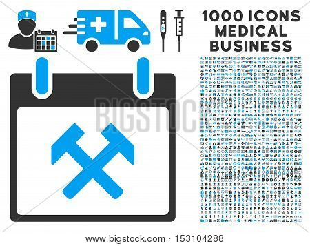 Blue And Gray Hammers Calendar Day glyph icon with 1000 medical business pictograms. Set style is flat bicolor symbols, blue and gray colors, white background.