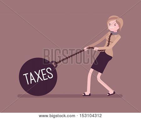Businesswoman dragging a giant heavy weight on chain, written Taxes on a ball. Cartoon vector flat-style concept illustration