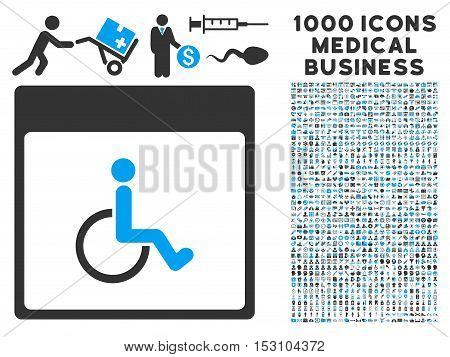 Blue And Gray Handicapped Calendar Page glyph icon with 1000 medical business pictograms. Set style is flat bicolor symbols, blue and gray colors, white background.