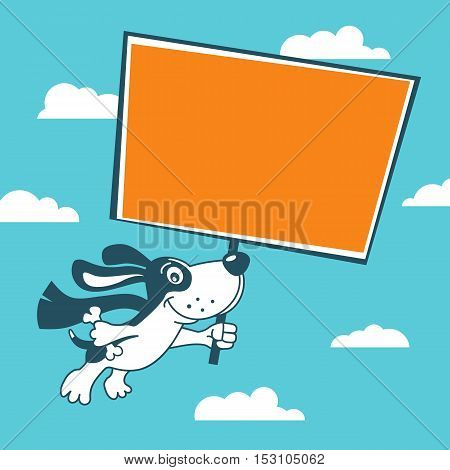 Funny Cute Super Dog Flying In Sky Holding Poster For Your Offer. Vector Cartoon Background.