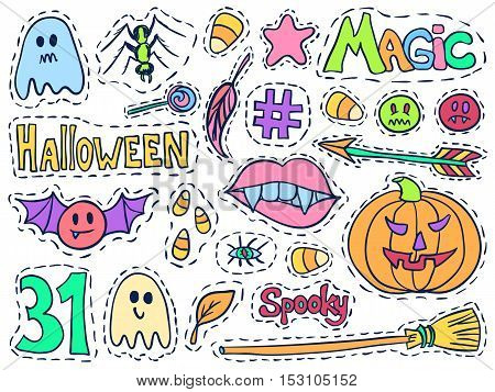 Halloween Patch Badges Set Holiday Doodles Bright