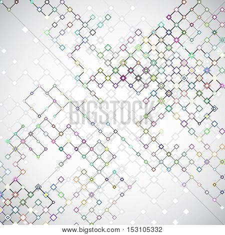 Abstract circuit background with connecting lattices