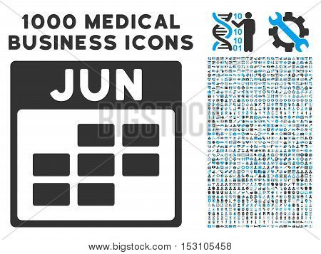Blue And Gray June Calendar Grid glyph icon with 1000 medical business pictograms. Set style is flat bicolor symbols, blue and gray colors, white background.