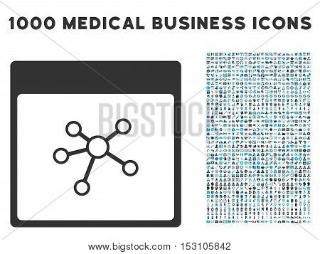 Blue And Gray Links Calendar Page glyph icon with 1000 medical business pictograms. Set style is flat bicolor symbols, blue and gray colors, white background.