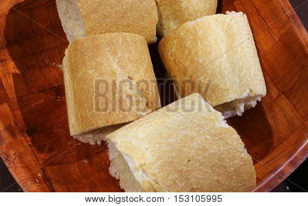 Baguette Bread Pieces In The Bread Basket Wooden