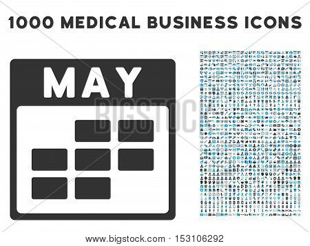 Blue And Gray May Calendar Grid glyph icon with 1000 medical business pictograms. Set style is flat bicolor symbols, blue and gray colors, white background.