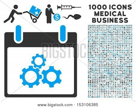 Blue And Gray Mechanics Gears Calendar Day glyph icon with 1000 medical business pictograms. Set style is flat bicolor symbols, blue and gray colors, white background.