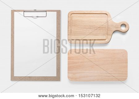 Design Concept Of Mockup Clip Board And Cutting Board Set Isolated On White Background. Copy Space F