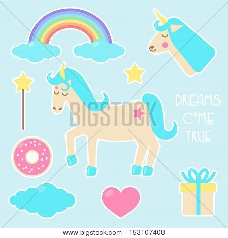 Unicorn set of stickers badges with rainbow doughnut. cloud magic wand heart and present