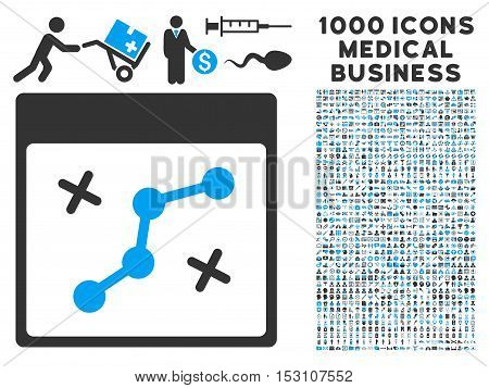 Blue And Gray Path Points Calendar Page glyph icon with 1000 medical business pictograms. Set style is flat bicolor symbols, blue and gray colors, white background.