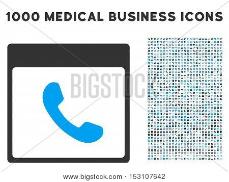 Blue And Gray Phone Calendar Page glyph icon with 1000 medical business pictograms. Set style is flat bicolor symbols, blue and gray colors, white background.