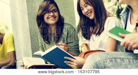 Girls Friends Studying Together Concept