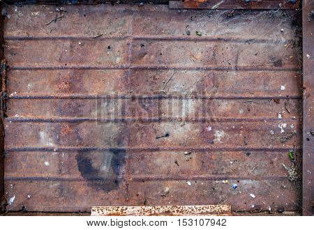 Old Rough Textured Rusted Metal Plate.