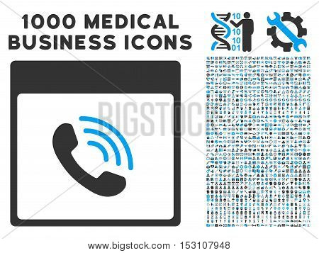 Blue And Gray Phone Call Calendar Page glyph icon with 1000 medical business pictograms. Set style is flat bicolor symbols, blue and gray colors, white background.
