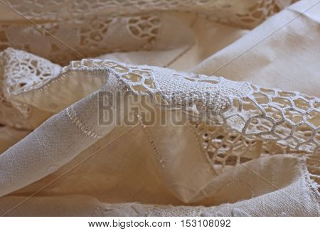 Detail Of A Sheet Decorated With Lace And Embroidery In Burano I
