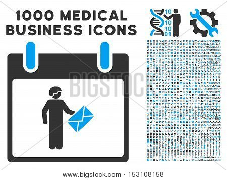Blue And Gray Postman Calendar Day glyph icon with 1000 medical business pictograms. Set style is flat bicolor symbols, blue and gray colors, white background.