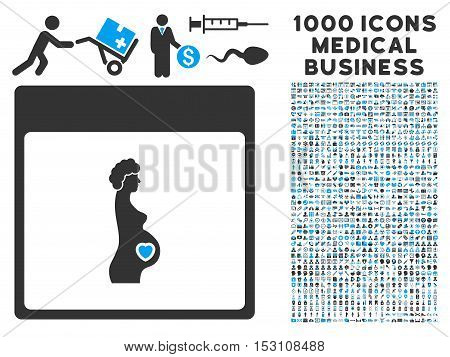 Blue And Gray Pregnant Woman Calendar Page glyph icon with 1000 medical business pictograms. Set style is flat bicolor symbols, blue and gray colors, white background.