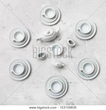 Top View Of Tea Set On Concrete Board