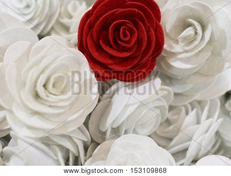 Red Rose And Many Small White Roses Hand-made