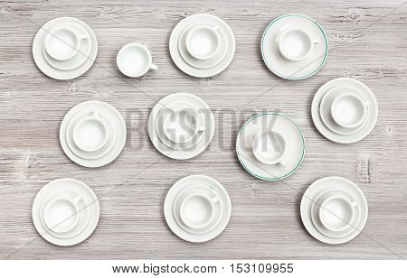 Top View Of Cups And Saucers On Gray Brown Table