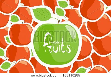Juicy green apple on a background of red apples
