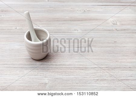 Cup For Sake With Spoon On Gray Brown Wooden Table