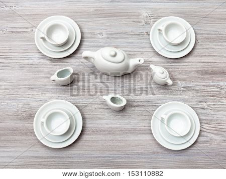 Top View Of Tea Set On Gray Brown Table