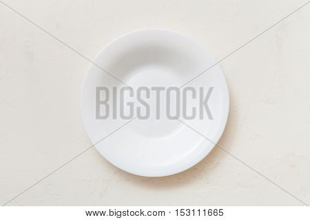 Above View Of White Deep Plate On Plaster