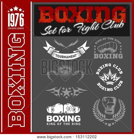 Vector Set - Boxing World Champion Labels and Icons on dark background